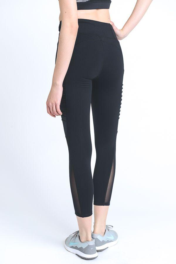 Moto Ribbed Splice Mesh Pocket Full Leggings PREORDER - LeggingsHut