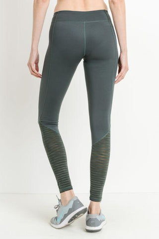 Image of Ribbed Burnout Mesh Contrast Leggings - Green