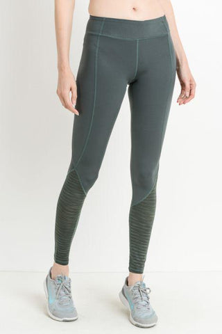 Ribbed Burnout Mesh Contrast Leggings - Green