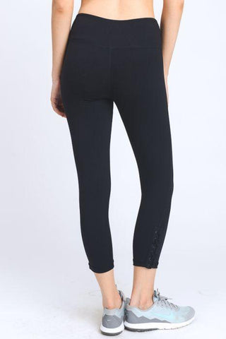 Image of Criss-Cross Lace Accent Capri Leggings