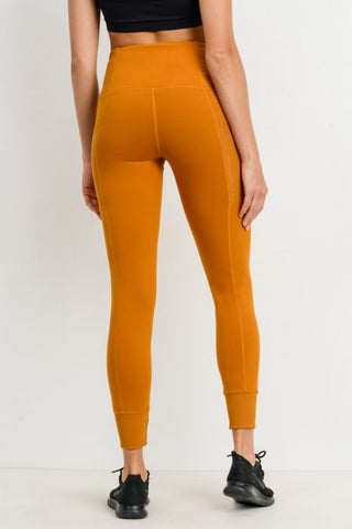 Image of Ribbed & Cuffed Overlay Side Pockets Full Leggings