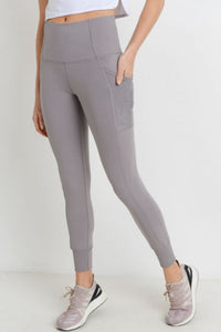 Ribbed & Cuffed Overlay Side Pockets Full Leggings - Mauve 9