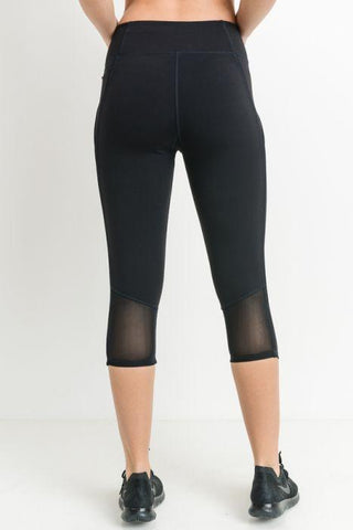 Image of Capri Leggings with Zippered Pockets and Mesh Back Panel