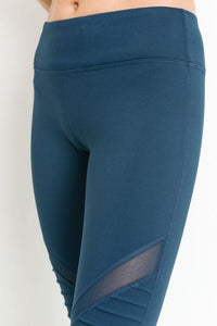 Moto Mesh Full Leggings Teal-Blue