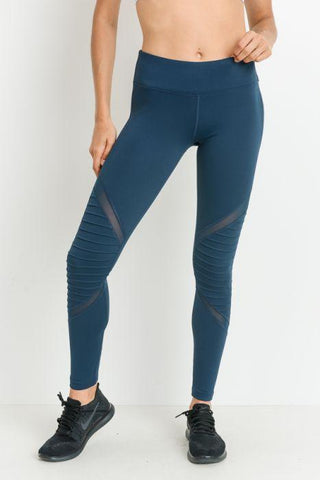 Image of Moto Mesh Full Leggings Teal-Blue