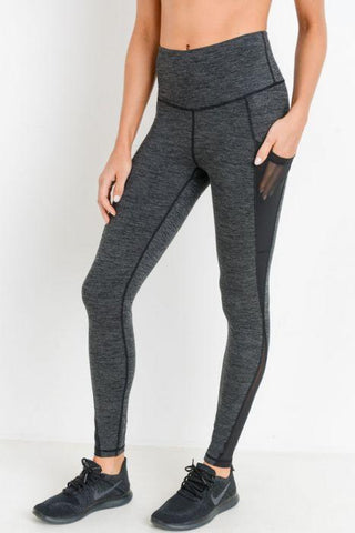 Highwaist Splice Mesh Pocket Full Leggings - 2 Tone Melange