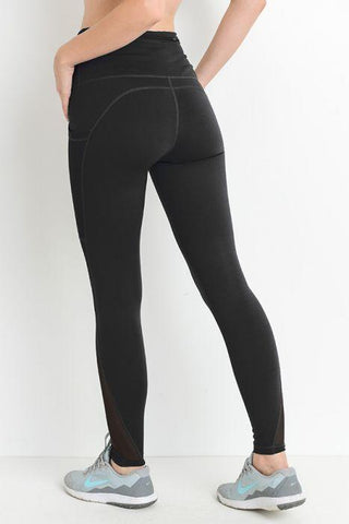 Highwaist Splice Mesh Pocket Full Leggings