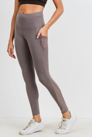 Image of Highwaist Splice Mesh Pocket Full Leggings - Medium Mocha