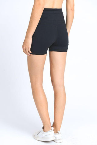 Image of High Waist Active Shorts Feature Flattering Accents - LeggingsHut