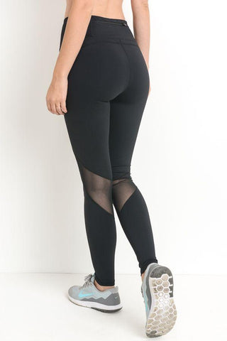 Image of Highwaist Slanted Cross-Over Mesh Full Leggings PREORDER - LeggingsHut