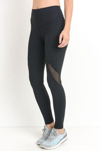 Highwaist Slanted Cross-Over Mesh Full Leggings PREORDER - LeggingsHut