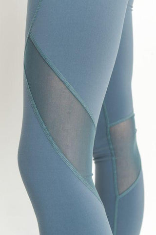 Highwaist Slanted Cross-Over Mesh Full Leggings - Light Teal Blue