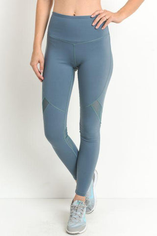Image of Highwaist Slanted Cross-Over Mesh Full Leggings - Light Teal Blue