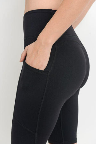 High Waist Short Leggings Featuring Side Pockets - LeggingsHut