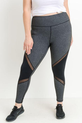 PLUS Highwaist Slanted Colorblock Mesh Full Leggings