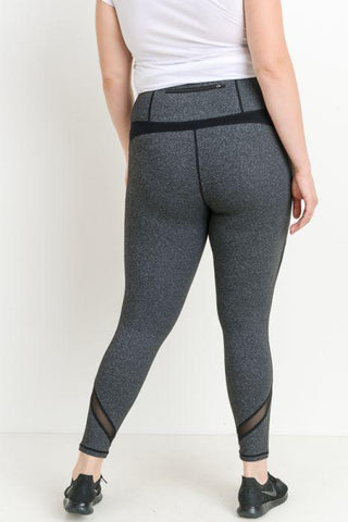 Image of PLUS Highwaist Slanted Colorblock Mesh Full Leggings