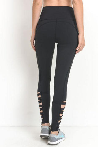 Image of Highwaist Zig Zag Strap Accent Pocket Full Leggings