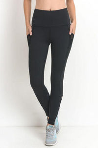 Highwaist Zig Zag Strap Accent Pocket Full Leggings