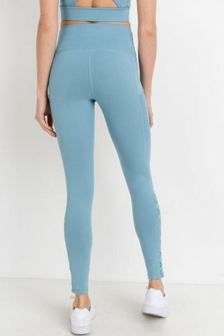 Image of Highwaist Hybrid Mesh & Lattice Straps Full Pocket Leggings