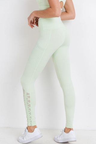 Highwaist Hybrid Mesh & Lattice Straps Full Pocket Leggings
