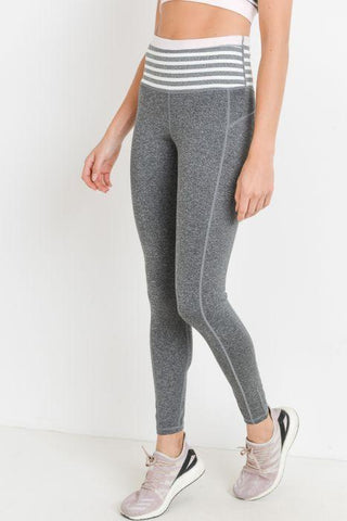 Highwaist Heather Grey Stripes & Colorblock Full Leggings