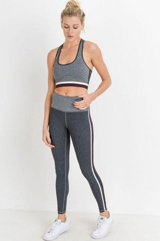 Highwaist Grey Shades Striped Full Leggings