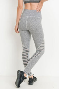Highwaist Woven and Trellis Mesh Combo Full Leggings