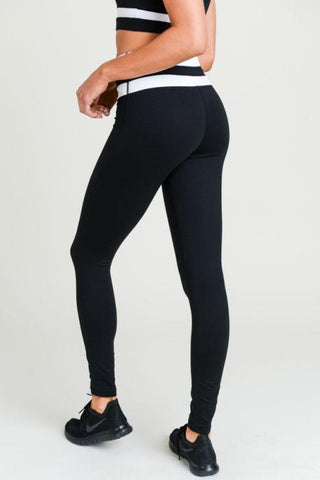 Highwaist Black-White Stripe Full Leggings