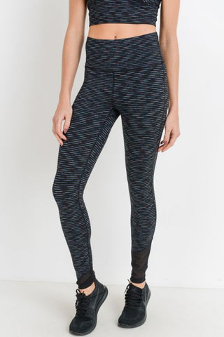 Image of Nebula Stripe Print Highwaist Mesh Wrap Leggings