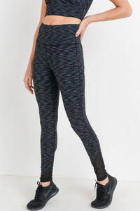 Nebula Stripe Print Highwaist Mesh Wrap Leggings