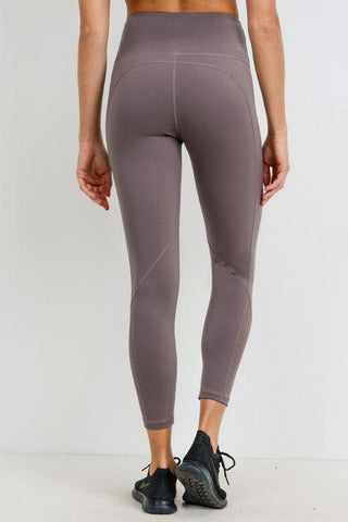 Perforated Panel Highwaist Performance Leggings Medium Mocha