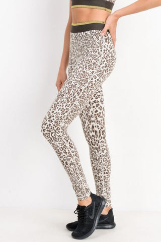 Image of Snow Jaguar Highwaist Gold-Striped Band Leggings