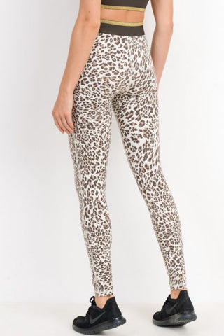 Snow Jaguar Highwaist Gold-Striped Band Leggings