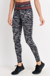 Grey Tiger Print Highwaist Leggings with Striped Band