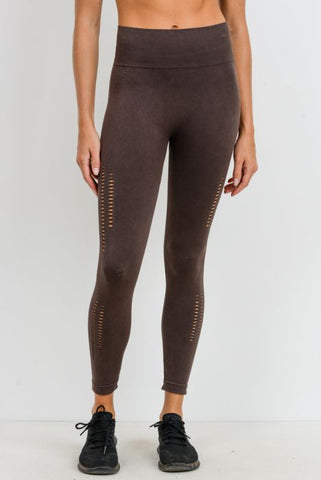 Image of Seamless Mineral Wash Perforated Sides Highwaist Leggings