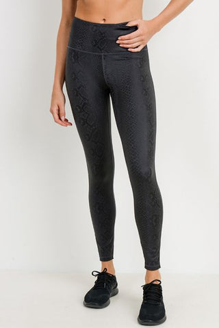 Image of Black Mamba Snake Foil Print Highwaist Leggings