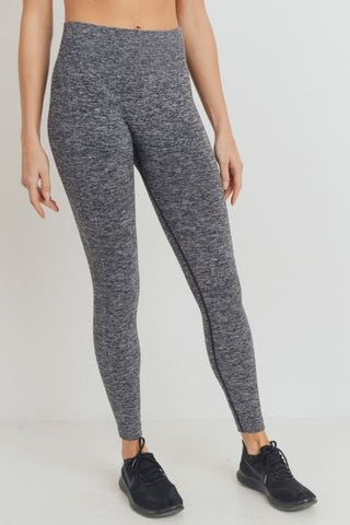 Ribbed Side Track Essential Seamless Melange Highwaist Leggings
