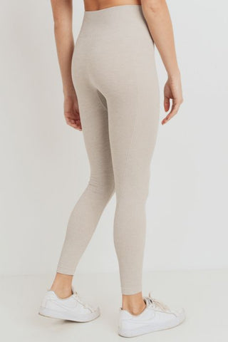 Image of Ribbed Side Track Essential Seamless Melange Highwaist Leggings