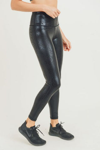 Black Nagini Snake Foil Print Highwaist Leggings