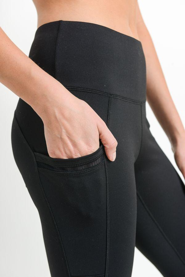 Highwaist Side-Mesh & Slit Full Leggings - LeggingsHut