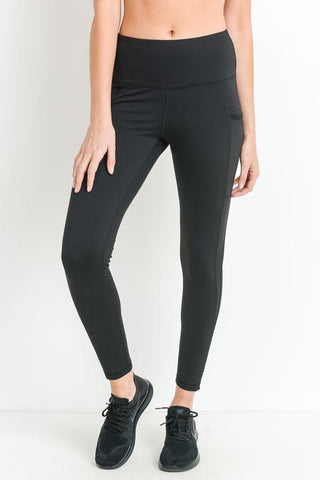 Image of Highwaist Side-Mesh & Slit Full Leggings - LeggingsHut