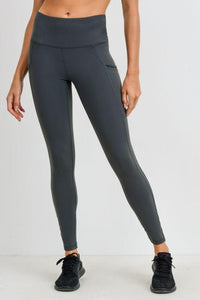 Highwaist Side-Mesh & Slit Full Leggings - Kale