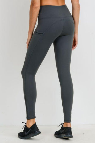 Image of Highwaist Side-Mesh & Slit Full Leggings - Kale
