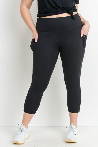 Image of PLUS Highwaist Side Mesh Slit Detail Full Leggings