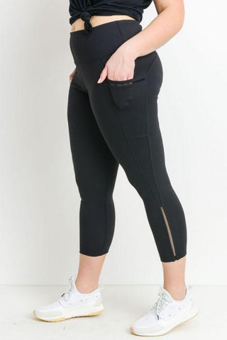 PLUS Highwaist Side Mesh Slit Detail Full Leggings