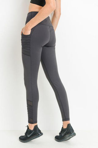 Image of Highwaist Moto Ribbed Full Leggings with Mesh Leggings and Pockets