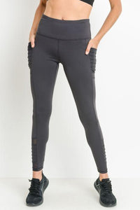 Highwaist Moto Ribbed Full Leggings with Mesh Leggings and Pockets