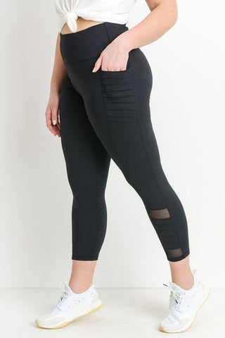 Image of Highwaist Moto Ribbed Full Leggings with Mesh Leggings and Pockets - LeggingsHut