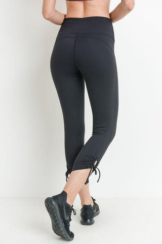 Highwaist Tie Accent Capri Leggings
