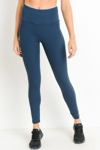 Image of Highwaist Shirred Leggings with Perforated Mesh Panels